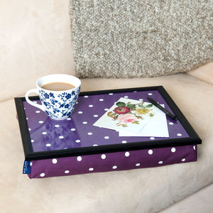 Bean Bag Cushioned Lap Tray In Purple Polka Dot - trays