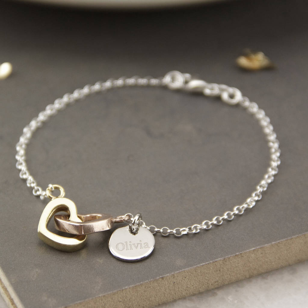 Personalised Sterling Silver Linked Heart Bracelet