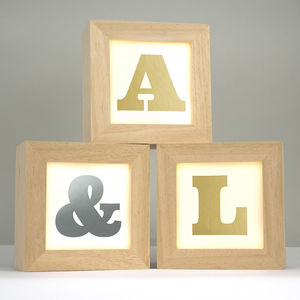 Personalised Metallic Alphabet Lightbox - bedside lamps