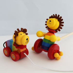 Lion Push Or Pull Along Toy - stocking fillers for babies & children