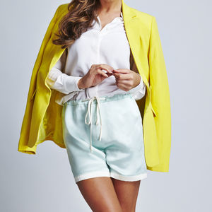Mint Silk Shorts With White Trims