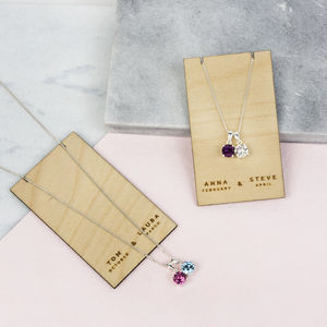 Birthstone Couples Necklaces With Swarovski Crystals - necklaces