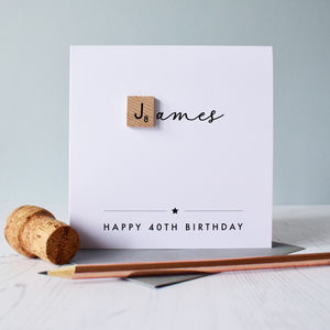 Personalised Milestone Age Birthday Scrabble Card - birthday cards