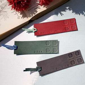 Personalised Italian Leather Bookmark With Welsh Detail