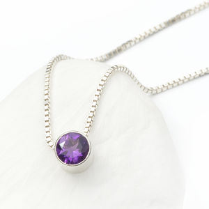 Amethyst Necklace February Birthstone - necklaces & pendants