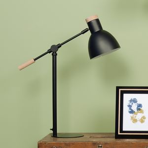 Black And Wood Desk Lamp - bedroom