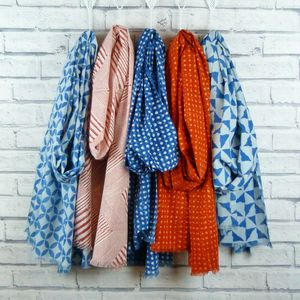 Indigo And Red Indian Cotton Handmade Scarf - scarves