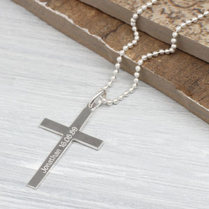 Personalised Sterling Silver Cross And Chain