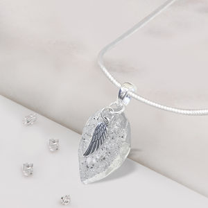 Memorial Angel Wing Resin Teardrop Pendant