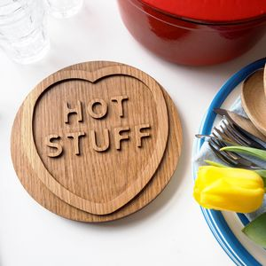 Solid Oak 'Hot Stuff' Trivet - gifts for couples