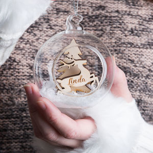 Personalised Snow Reindeer Glass Bauble