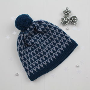 Arrow Knitted Pom Pom Hat - keeping cosy