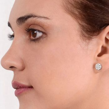 Hand Hammered Textured Silver Round Stud Earrings