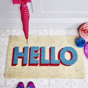 Hello Typographic Door Mat - rugs & doormats