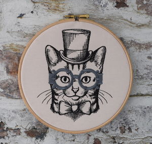 Steampunk Kitty Cat Embroidered Wall Hoop