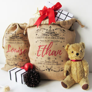 Personalised Burlap Christmas Sack - stockings & sacks