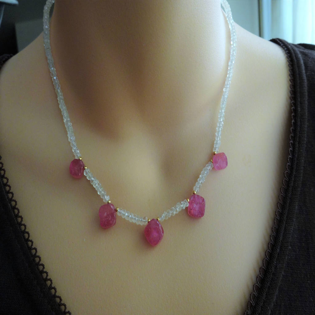 rough pink sapphire necklace with topaz by prisha jewels ...Unpolished Sapphire Necklace