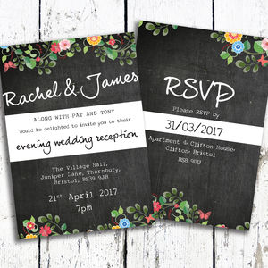 Floral Chalkboard Evening Postcard Invites