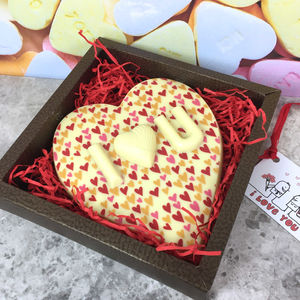 Personalised White Chocolate Heart Valentines Day Gift