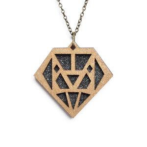 Contemporary Geometric Diamond Pendant Necklace D4