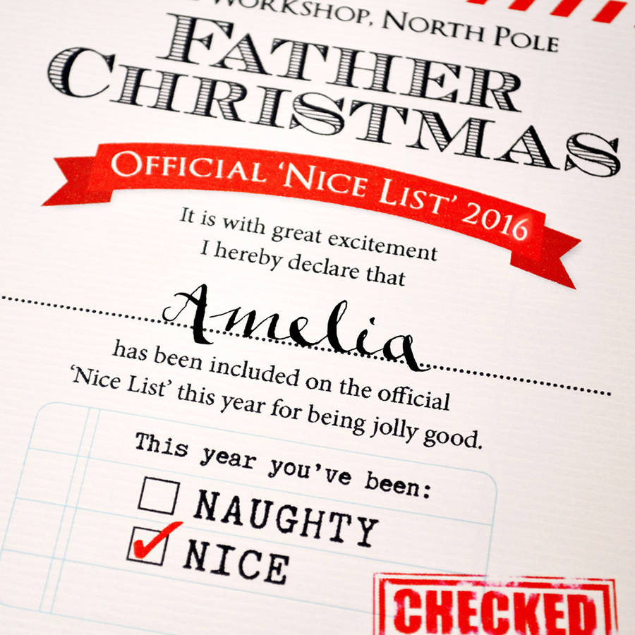 personalised letter from father christmas nice list