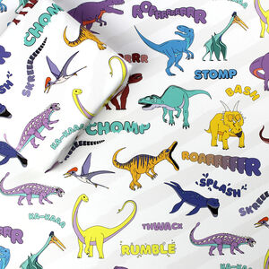 Dinosaur Words Wrapping Paper