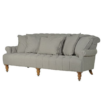 Grey Linen Three Seater Buttoned Sofa