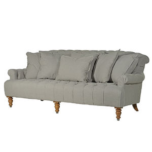 Grey Linen Three Seater Buttoned Sofa - furniture