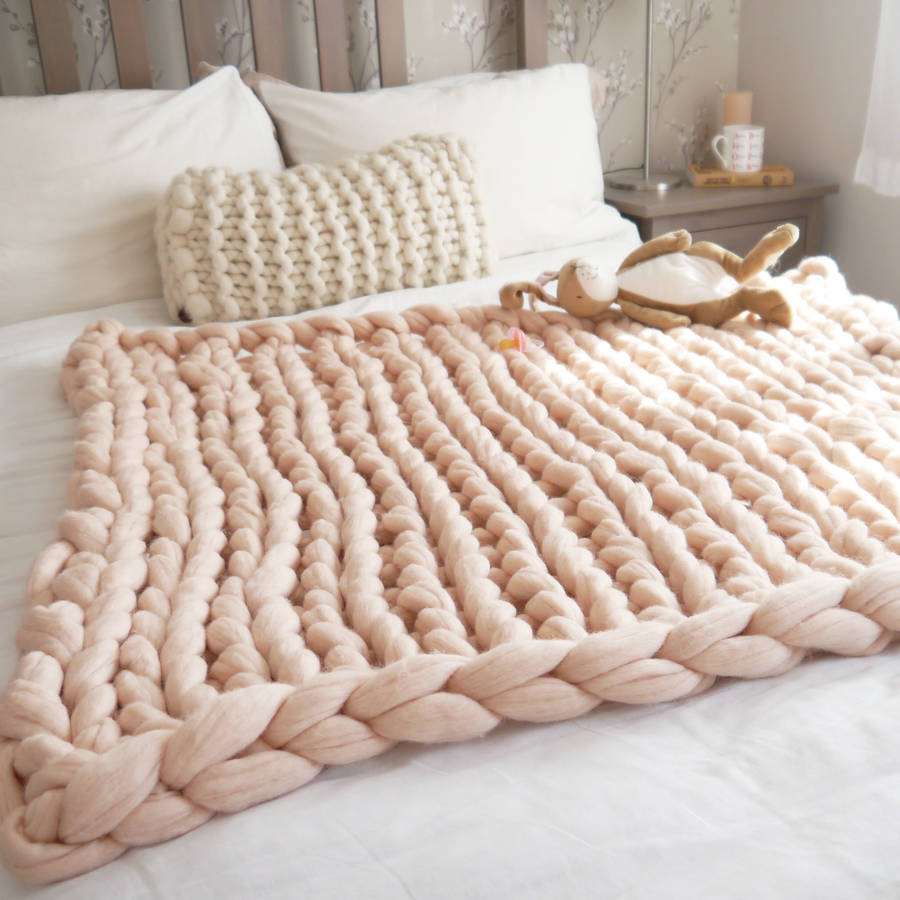 Arm hand knitted chunky BLANKET throw merino wool yarn soft super big bulky S...