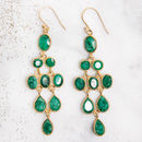 Green Emerald Chandelier Gold Drop Earrings