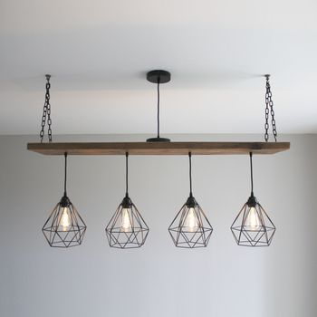 Solid Wood Beam Multi Industrial Light Oak Style