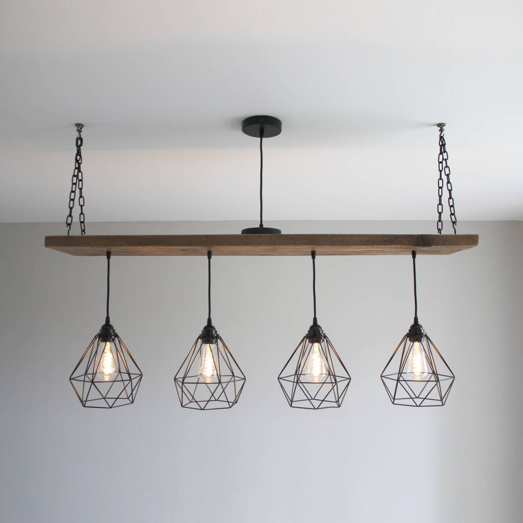 kitchen table pendant light solid wood beam multi industrial light oak style by mr j 6224
