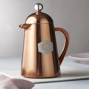 Personalised Geometric Copper Coffee Pot - for him