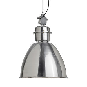 Large Silver Domed Hanging Lamp