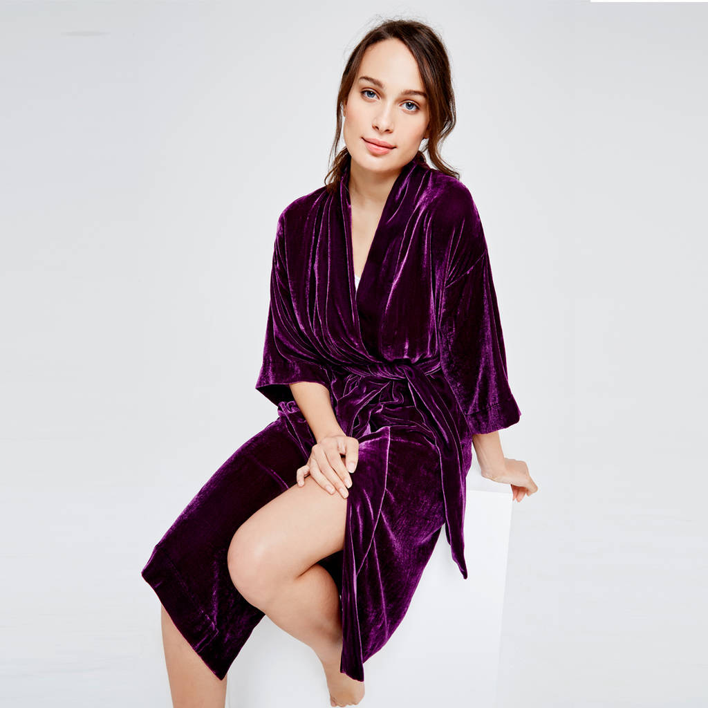 personalised velvet dressing gown damson by blue marmalade london ...