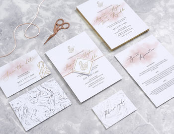 Gold Foil And Blush Geometric Swan Wedding Stationery