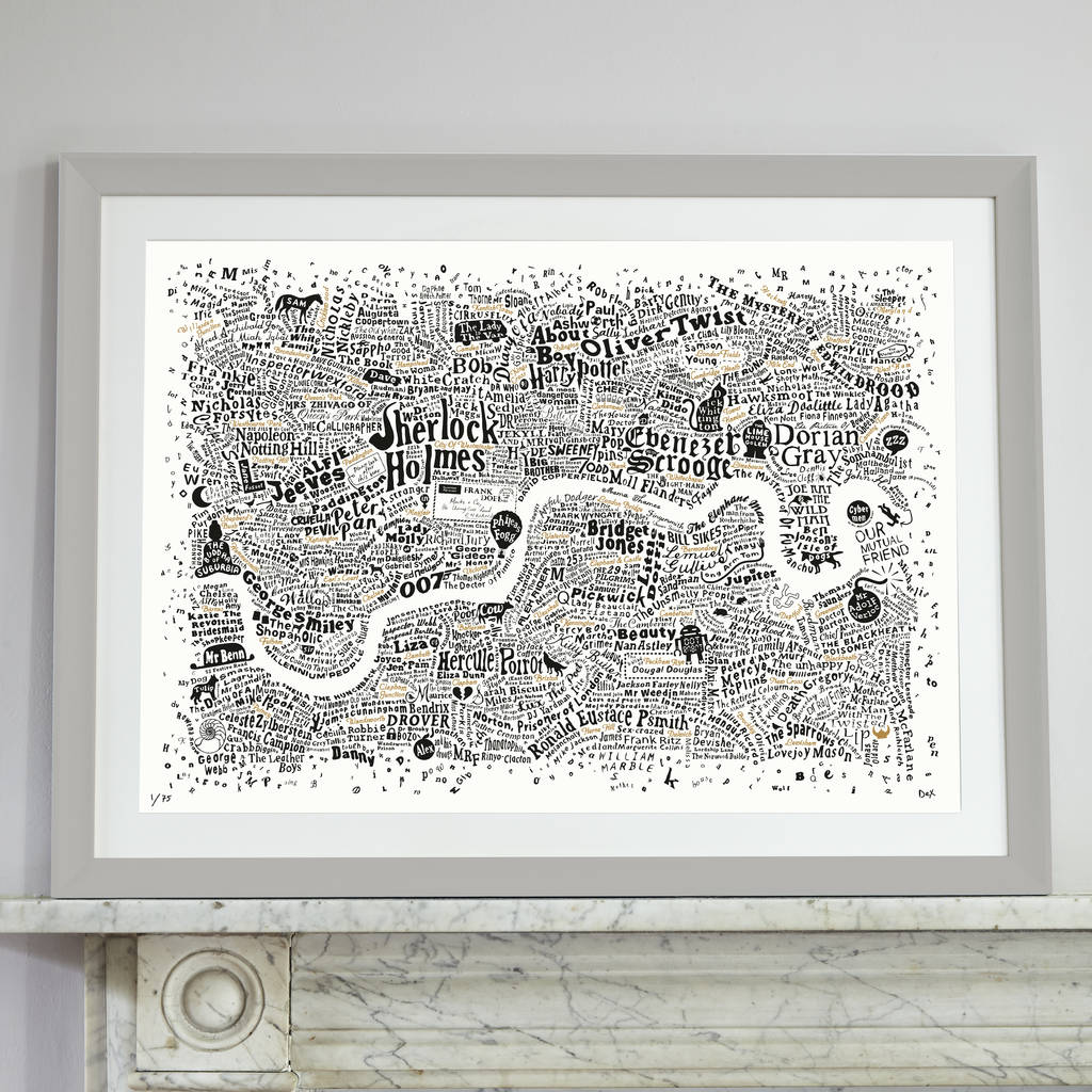 Typographic Map Of Literary London Print By Run For The Hills