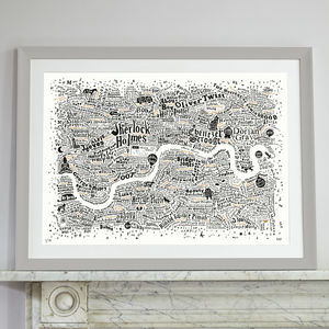 Typographic Map Of Literary London Print - literature