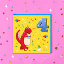 Personalised Glitter Red Dinosaur Kids Age Card