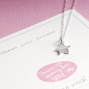 Engraved Star Pendant With Dream In Sterling Silver