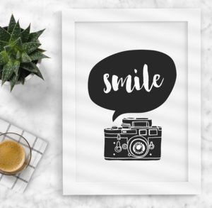 'Smile' Camera Black And White Typography Print