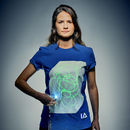 Adults Unisex Interactive Green Glow T Shirt Royal Blue