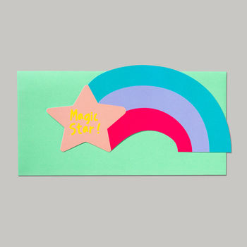 Magic Star Rainbow Die Cut Card
