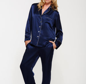 Navy Blue Silk Long Pyjama Set - women's fashion