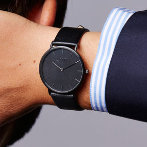 Dark Grey And Black Vegan Leather Watch
