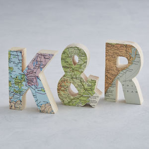Set Of Wooden Map Letters Wedding Anniversary Gift - decorative accessories