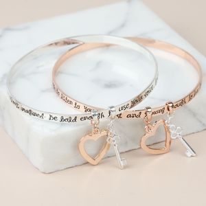 'Bold And Brave' Meaningful Quote Bangle - bracelets & bangles