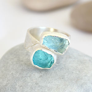 Aquamarine And Apatite Adjustable Chunky Silver Ring - rings