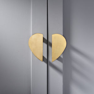Large Heart Brass Cabinet Handles