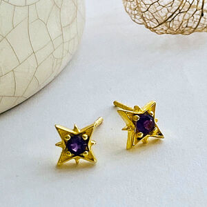 Amethyst Star Gold Stud Earrings